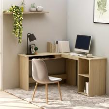 Sonoma színű forgácslap L-alakú sarok-íróasztal 120x140x75 cm íróasztal