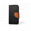 Sony Xperia Z5 Compact, Oldalra nyíló tok, stand, csatos, Proflip, fekete/barna
