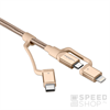 Spigen Essential C10I3 microUSB 2.0/Type-C/Lightning adatkábel, arany