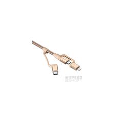 Spigen Essential C10I3 microUSB 2.0/Type-C/Lightning adatkábel, arany kábel és adapter