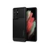 Spigen Samsung G998F Galaxy S21 Ultra ütésálló hátlap - Spigen Rugged Armor - fekete