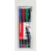 """STABILO Alkoholos marker készlet, 0,7 mm, STABILO \""""OHPen F\"""", 4 különböző szín [4 db]"""