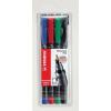 "STABILO Alkoholos marker készlet, 0, 7 mm, STABILO ""OHPen F"", 4 szín"