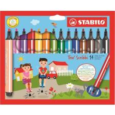 """STABILO Filctoll készlet, 1,5-2 mm, rugós hegy, STABILO """"Trio Scribbi"""", 14 különböző szín filctoll, marker"""