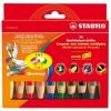 STABILO Színes ceruza készlet, kerek, vastag, STABILO  Woody 3 in 1 , 10 különböző szín