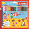 """STABILO Színes ceruza készlet, vastag, háromszögletű, hegyezővel,  """"Trio"""", 24 különböző szín"""