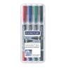 """STAEDTLER Alkoholos marker készlet, F/M, 0,6/1,5 mm, kúpos, kétvégű, STAEDTLER """"Lumocolor Duo"""", 4 különböző szín"""