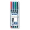 """STAEDTLER Alkoholos marker készlet, OHP, 1 mm, STAEDTLER """"Lumocolor 317 M"""", 4 különböző szín"""