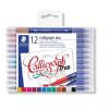 "STAEDTLER Kalligrafikus marker készlet, 2,0/3,5 mm, kétvégű, STAEDTLER ""Calligraph Duo"", 12 szín"