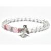 Sütő-ékszer Hegyikristály, rózsakvarc, rodokrozit angyalos karkötő