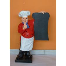 Szakács-táblával/ 75 cm/piros inges-bajusz nélküli üzletberendezés, dekoráció