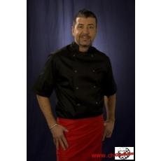 Szakácskabát fekete rövid ujjú kétsoros patentos