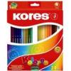 """Színes ceruza készlet, háromszögletű, KORES \""""Triangular\"""", 24 különböző szín"""