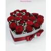 Szív alakú fehér rózsa box