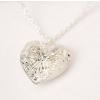 Szív alakú képtartó függő medál nyaklánccal, ezüst