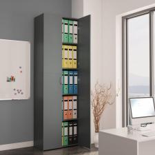 Szürke forgácslap irodai szekrény 60 x 32 x 190 cm irodabútor