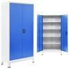 szürke/kék fém irodaszekrény 90 x 40 x 180 cm