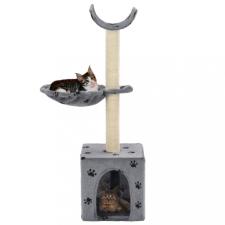 Szürke macskabútor mancsnyomokkal és szizál kaparófákkal 105 cm macskafelszerelés