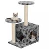 Szürke mancs mintás macskabútor szizál kaparófákkal 60 cm