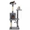 Szürke, mancsmintás macskabútor szizál kaparófákkal 120 cm