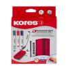 Tábla- és flipchart marker készlet mágneses táblatörlő szivaccsal, 1-4 mm, vágott, KORES, 4 különböző szín, 4 db/készlet (IK20865)