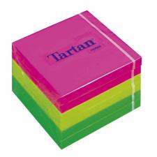 TARTAN Öntapadó jegyzettömb, 76x76 mm, 100 lap, 6 tömb/cs, , vegyes neon színek jegyzettömb