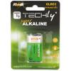 Techly alkalikus elem, 9V 6LR61 PP3, 1 darab