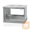 TECHLYPRO fali rack szekrény, ECO 19'' 6U/320 mm üvegajtó, összeszerelt, szürke