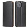 Telealk Iphone 12 Mini oldalra nyíló bőr flip tok, zsebekkel és mágneszárral (fekete)