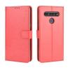 Telealk LG K41S oldalra nyíló, bőr, mágnes záras, kártyatartós tok, sötét piros