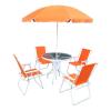 Tempo Kerti bútor szett, narancssárga-fehér, ODELO