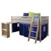 TEMPO KONDELA Ágy , PC asztallal, fenyőfa/kék, 90x200, ALZENA