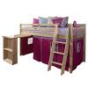 TEMPO KONDELA Magasított ágy íroasztallal,boróka/rozsaszín.ALZENA