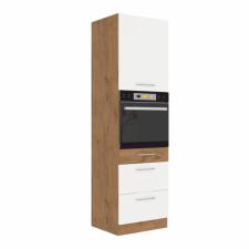 Tempo Magas szekrény beépített sütőnek, lancelot tölgy- fehér extra magas fényű HG, VEGA 60 DPS-210 3S 1F bútor