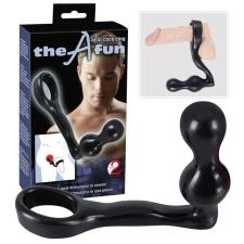the fun - análdugó péniszgyűrűvel (fekete) péniszgyűrű