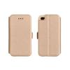 Tok, oldalra nyíló flip tok, HTC M10, arany, flexi, csomagolás nélküli