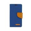 Tok, Telone Fancy oldalra nyíló flip tok, szilikon belsővel, Huawei P9, kék, szövetbevonatos, csomagolás nélküli