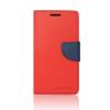 Tok, Telone Fancy oldalra nyíló flip tok, szilikon belsővel, LG G6, piros-kék, csomagolás nélküli