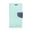 Tok, Telone Fancy oldalra nyíló flip tok, szilikon belsővel, Samsung Galaxy A3 (2016) A310, menta zöld-kék, csomagolás nélküli