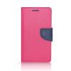 Tok, Telone Fancy oldalra nyíló flip tok, szilikon belsővel, Samsung Galaxy S7 G930, rózsaszín-kék, csomagolás nélküli