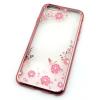 Tok, Ultra-slim szilikon tok, Samsung Galaxy S6 G920, rose gold keretes, rózsaszín virág mintás, Swarovski kristályos