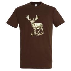 TOP kereknyakú póló szarvas mintával, 100% pamut, 190gr/m2, barna