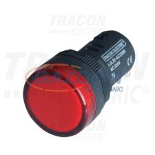 TRACON LJL22-RE LED-es jelzőlámpa, piros 230V AC/DC, d=22mm világítás