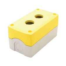 TRACON NYGD-2YE Összeállított tokozat nyomógombokhoz, sárga, 2-es d=22,5, IP65, 2×PG-13,5 villanyszerelés