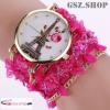 Trendy Duoya karóra virágos karkötővel / Pink