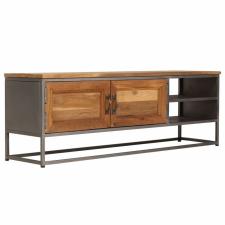 újrahasznosított tíkfa és acél TV-szekrény 120 x 30 x 40 cm kerti bútor