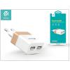 Univerzális USB hálózati töltő adapter 2 x USB - 5V/2,4A - Devia Rockwall 2 - white/gold