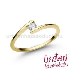 Úristen, házasodunk! E7SC - CIRKÓNIA köves sárga arany Eljegyzési Gyűrű gyűrű
