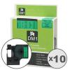 Utángyártott szalag Dymo 43619, 6mm x 7m fekete nyomtatás / zöld alapon
