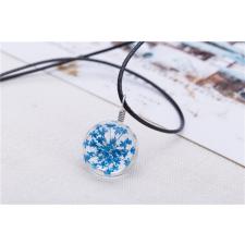Üvegbe zárt kék virág medálos nyaklánc ajándéktárgy